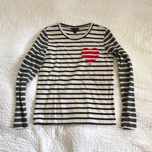 J Crew inset heart stripped combo t shirt